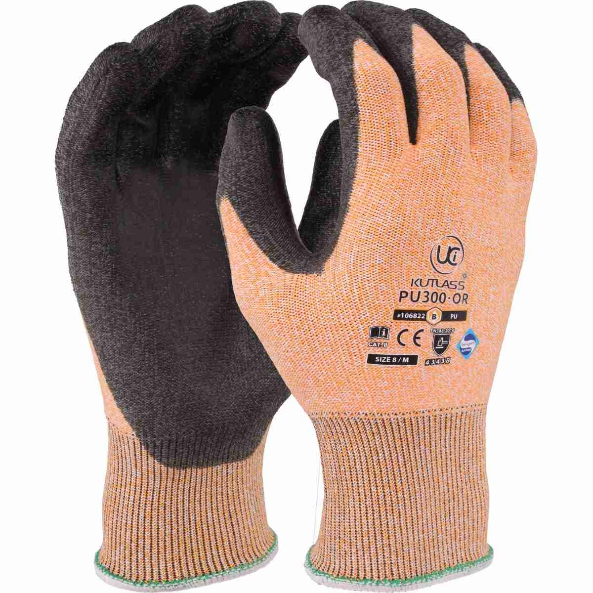 Safety UCI Kutlass PU300 Grey PU Palm Coated Cut Resistant Gloves Size 9 LARGE